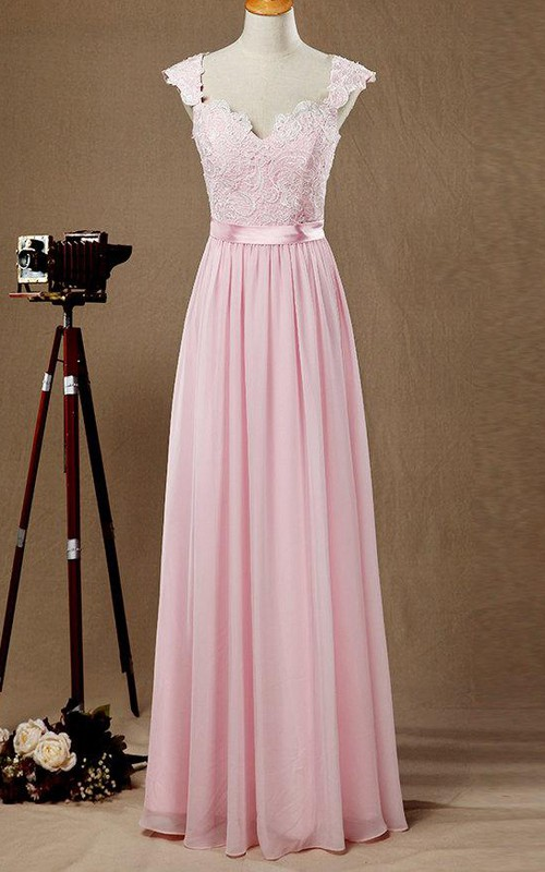blushing Queen Anne Chiffon Pleated Dress With Lace Illusion top