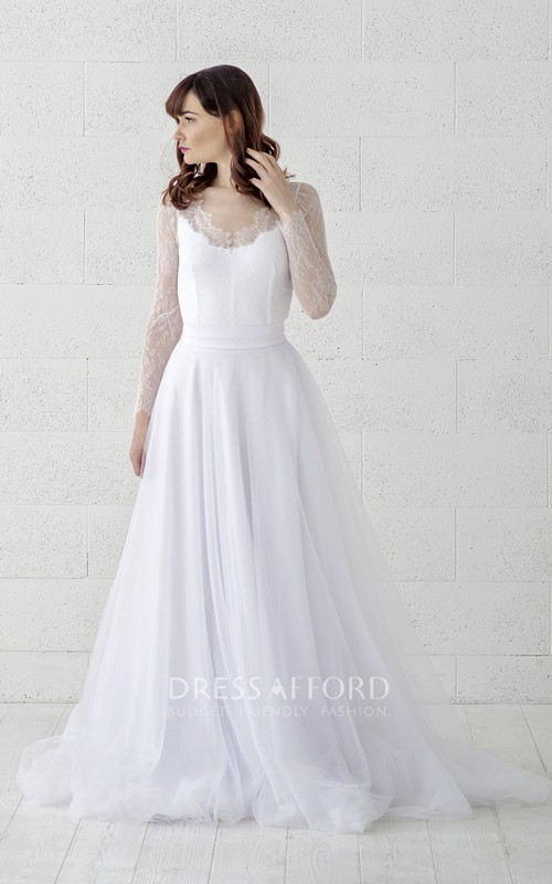 Scalloped Illusion Lace Long Sleeve Tulle Wedding Gown With Button Back