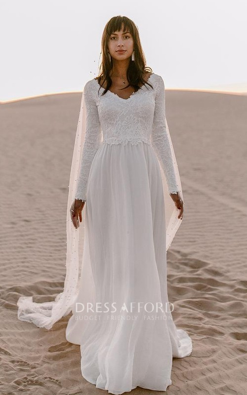 Bohemian Long Sleeve A Line Chiffon Lace V-neck Wedding Dress with V Back