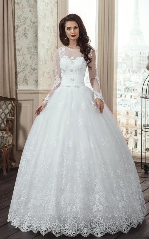 Lace Floral Illusion Lace-Up Back Long-Sleeve A-Line Dress