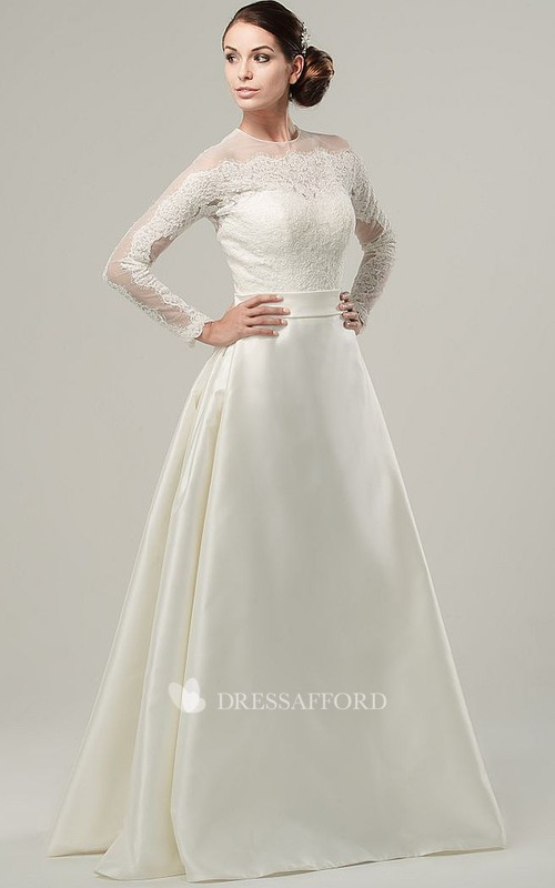 Jewel-Neck Long Sleeve A-line Satin Wedding Dress With Appliques