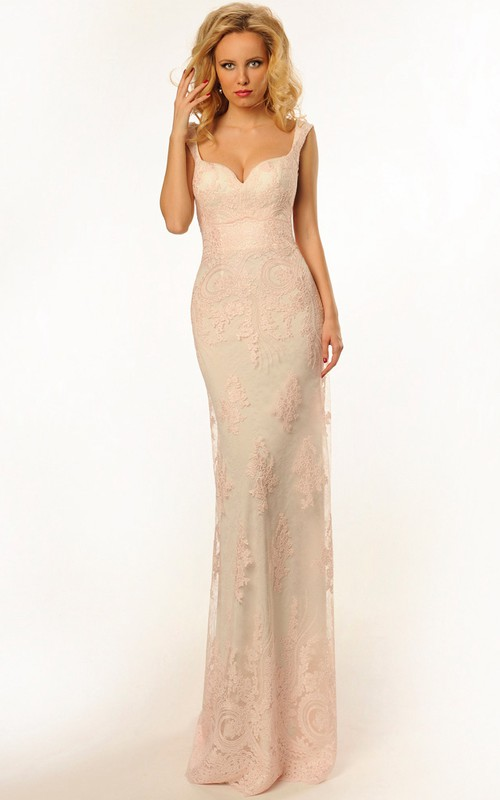 Sleeveless Sheath Lace Appliqued Backless Dress With Sweep Train