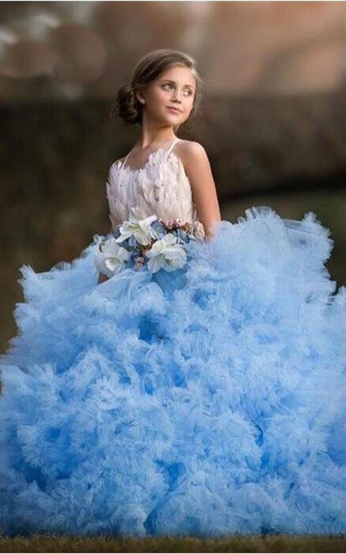 Ball Gown Tulle Spaghetti Sash Bow Flower Girl Dress