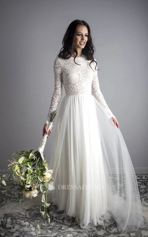 Bohemian Sexy Illusion Lace Long Sleeve Tulle Dress With Open Back