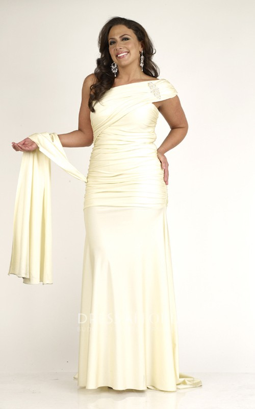 One-shoulder Asymmetrical Ruched Dress With Epaulet And Sweep Train