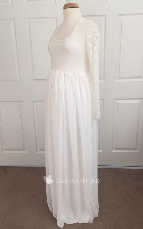 A-line Scoop Lace Pleated Long Sleeve Floor-length Chiffon Lace Maternity Wedding Dress