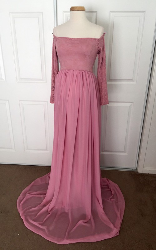 A-line Off-the-shoulder Pleated Ruched Long Sleeve Brush Train Chiffon Lace Maternity Dress