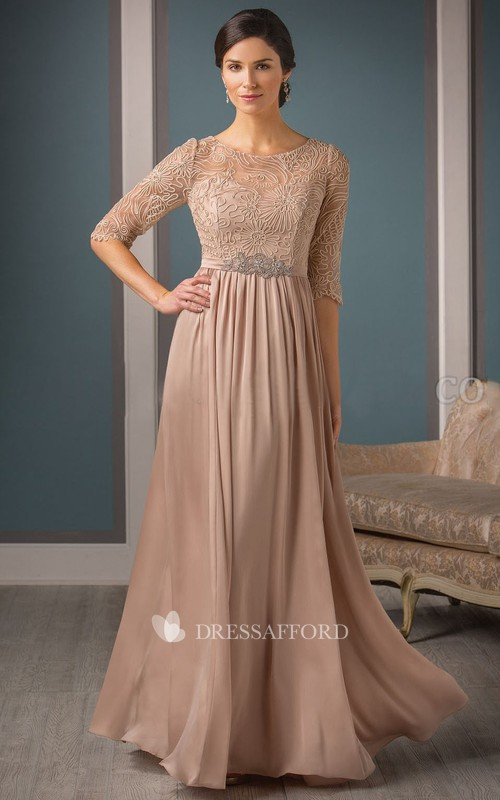 Scoop-neck Half Sleeve Lace Jersey Mother of the Bride Dress With Embellished Waist