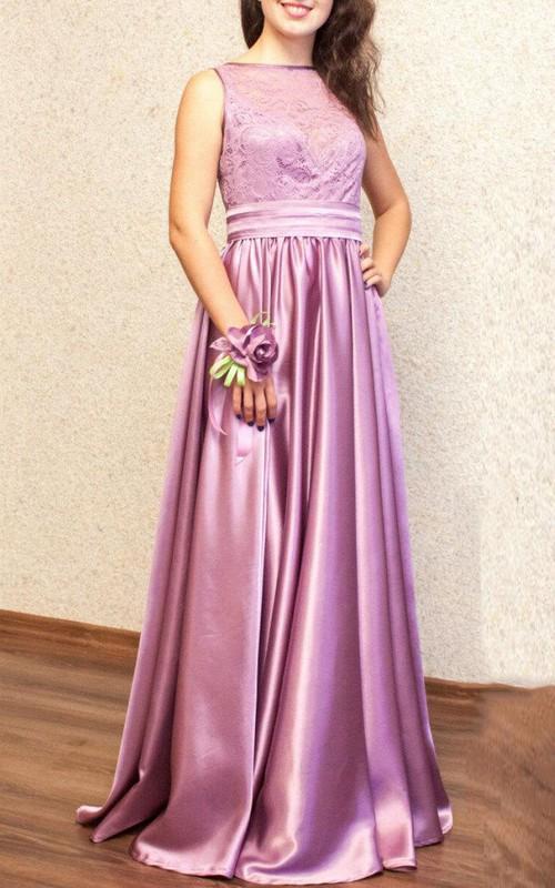 Bateau Sleeveless Charmeuse Pleated Dress With Lace top And Sweep Train