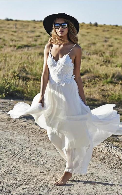 Simple Spaghetti Straps Chiffon Wedding Dresses Appliques Beach Bridal Gowns