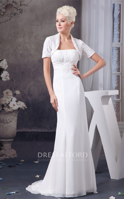 Column Lace Bolero Chiffon Strapless Dress