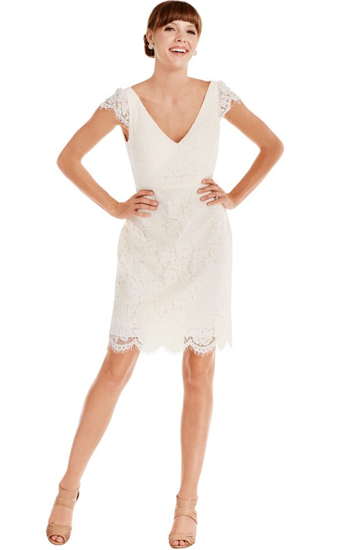 plunged Cap-sleeve Lace short Dress