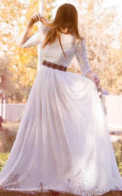 Bateau Lace Half Sleeve Pleated Wedding Dress With Lace Ribbon