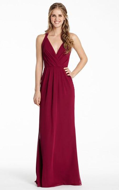 Plunged Chiffon Sleeveless Haltered Dress With Ruching