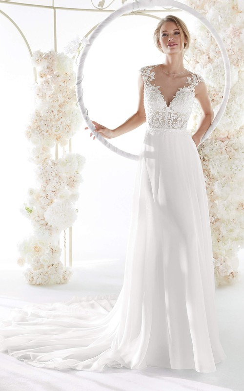 Elegant Illusion Lace Chiffon Cap Sleeve Wedding Gown With Plunging Neckline And Keyhole Back