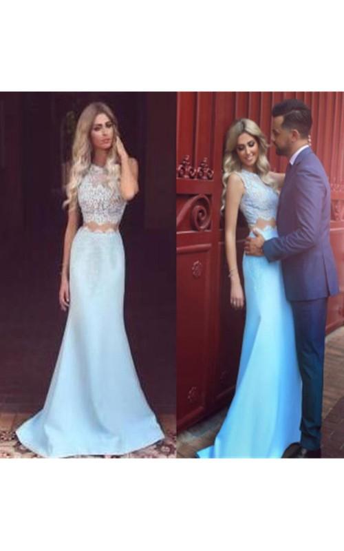 Jewel Satin Lace Sleeveless Sweep Brush Train Appliques Lace Pleats Dress