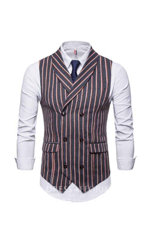 Striped Poly Men's Vest-3 Color Options