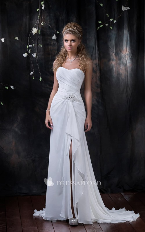 Sleeveless Slit Front Draping Floor-Length Column Chiffon Dress