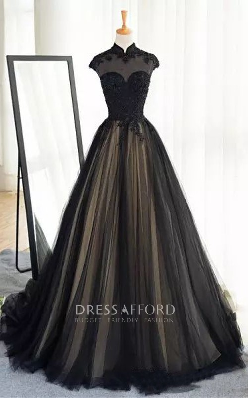 High Neck A-Line Short Sleeve Lace Tulle Floor-length Court Train Wedding Dress with Illusion Back