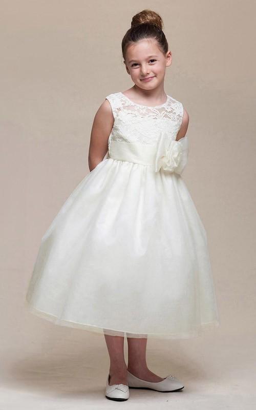 Floral Sash Bowknot 3-4-Length Lace Flower Girl Dress