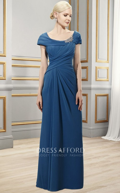 Scoop-Neck Zipper Back Formal Draping Broach Column Chiffon Dress