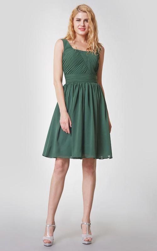 Short Ruched Sleeveless Vintage Chiffon Dress