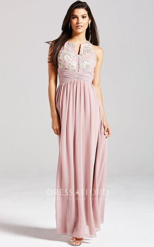 V-Cut Neckline Sleeveless Dress With Lace Detail
