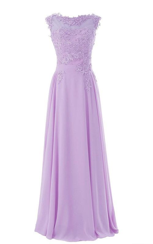 A-Line Lace Appliqued Bateau-Neckline Cap-Sleeve Dress