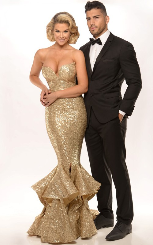 Mermaid/Trumpet Sequined Ruffled prom Dress With Split Front