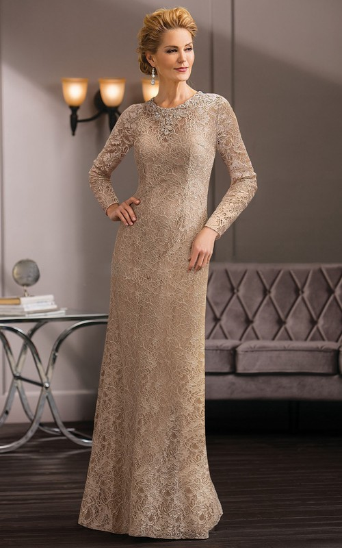 overall Lace Jewel-neck Mother of the Bride Dress With Beading