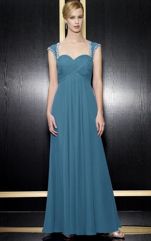 Queen-Anne Zipper Back Formal Beading Long A-Line Chiffon Dress
