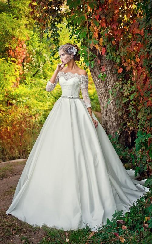 Wedding Lace Bodice Jeweled Waist A-Line Off-The-Shoulder Dress