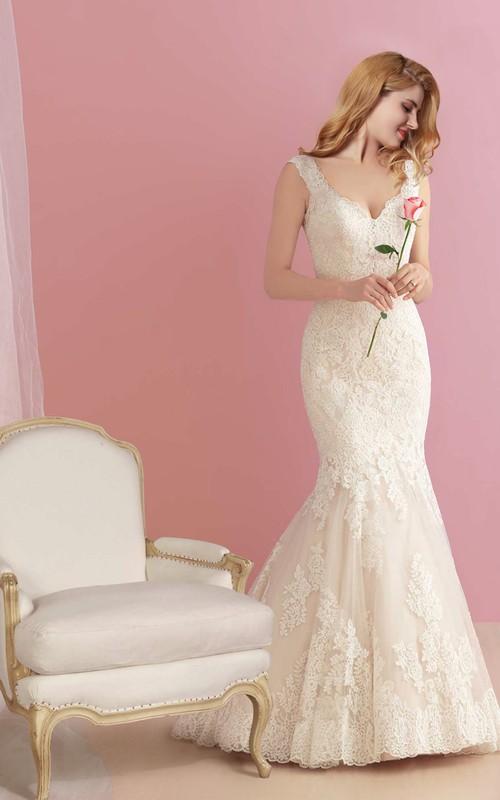 Deep-v-neck Sleeveless Trumpet Lace Appliqued Wedding Dress With Deep-V Back