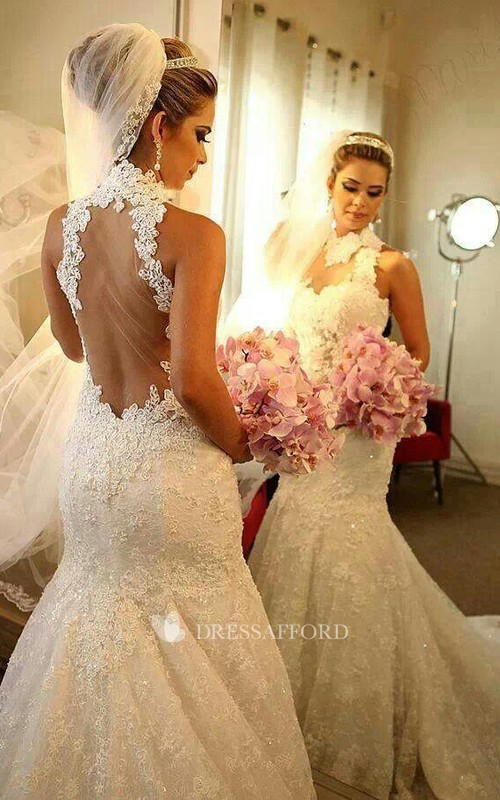 Bridal Lace Appliqued Long Train High-Neckline Newest Dress