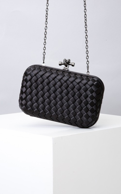 Woven Satin Clutch with Top Clasp