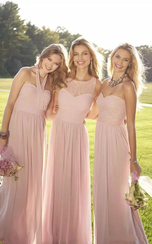 Simple Halter Jewel Sweetheart Sleeveless Chiffon Lace A-Line Dress