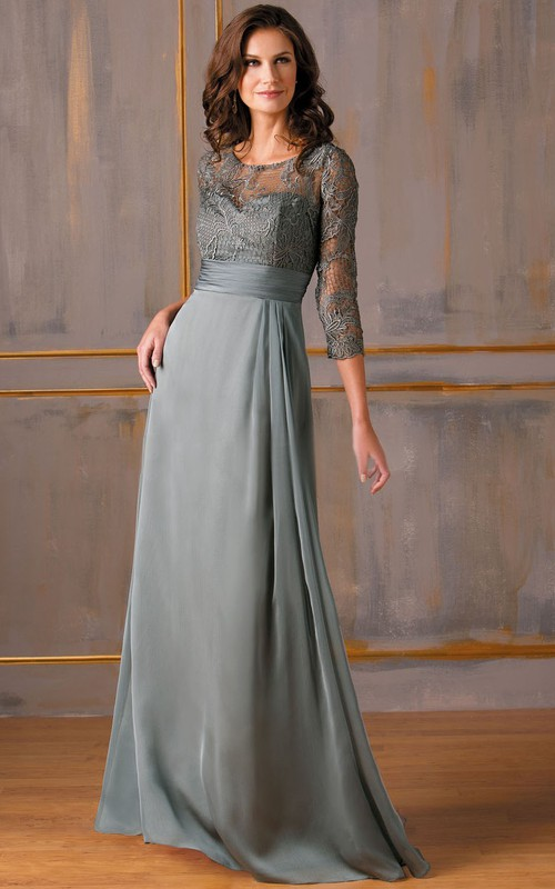 Lace Top Keyholes Back Long-Sleeved Gown