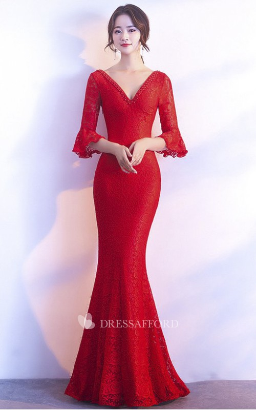 Sexy 3/4 Poet Sleeve Mermaid Gown With Deep V-neck And Straps Back