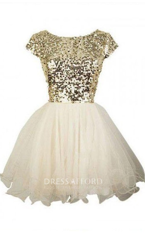Short Sleeve A-line Ball Gown Short Mini Bateau Ruffles Sequins Tulle Sequins Homecoming Dress