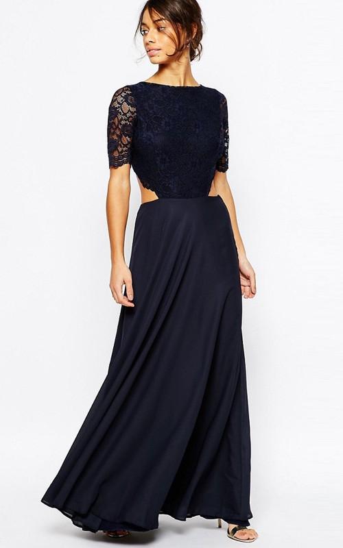 A-Line Jewel-Neck Lace Short-Sleeve Maxi Chiffon Bridesmaid Dress