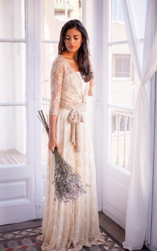 vintage inspired Lace Long Sleeve Pleated Illusion Wedding Dress With bow
