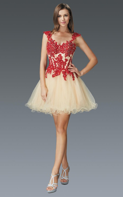 A-Line Jeweled Appliqued Short Mini Tulle Queen-Anne Dress