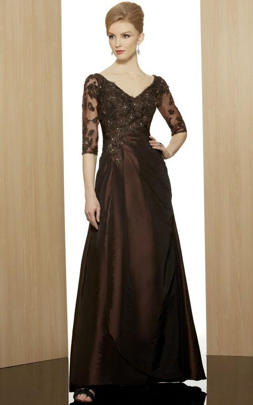 Short-Sleeve Rhinestone Formal Ankle-Length Column Satin Gown