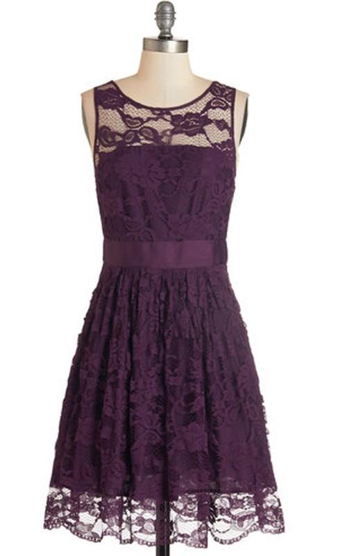 Lace Scoop-neck Sleeveless short Dress