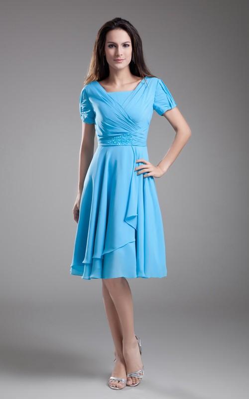Midi Draping Bateau-Neckline Chiffon-Sleeve Dress