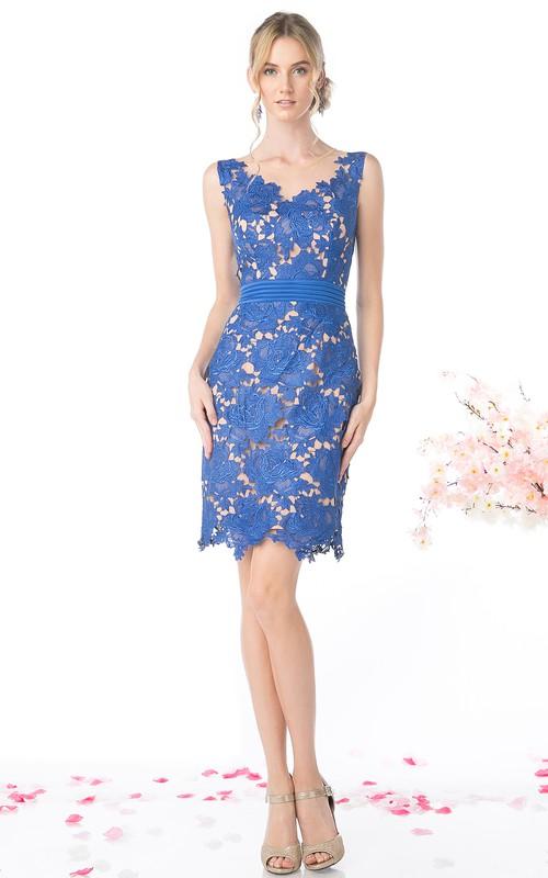 Pencil Low-V-Back Appliqued Short Mini Sleeveless Scoop-Neck Lace Dress