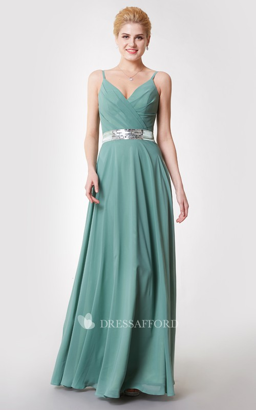 Ruched Jeweled Satin Ribbon V-Neckline Demure Chiffon Gown