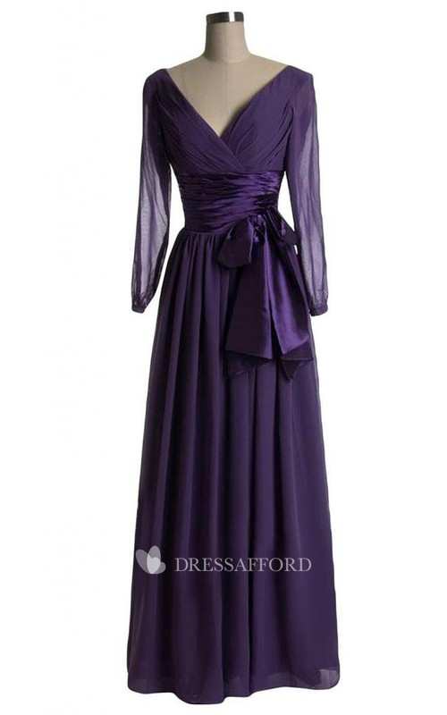 Bow Illusion Inspire A-Line Long-Sleeved Dress