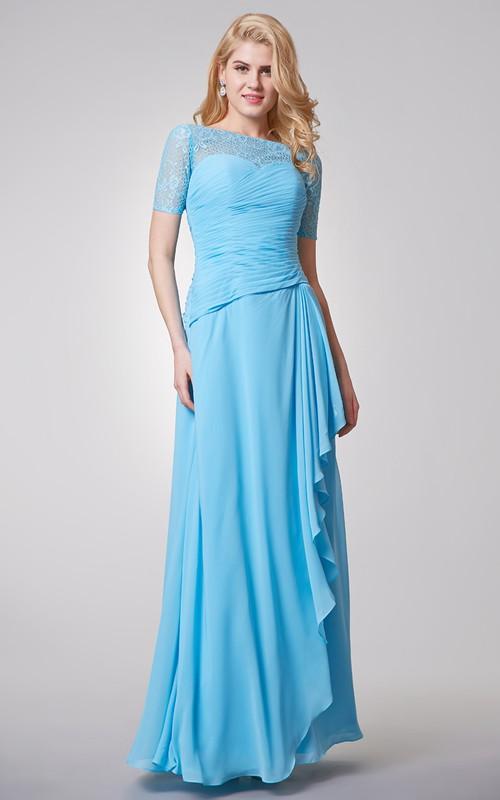Floor-Length Lace Top Long Bateau-Neck Chiffon Dress