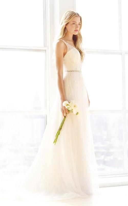 V-Neckline Floral Embroidery Illusion Shimmering Floor-Length Dress